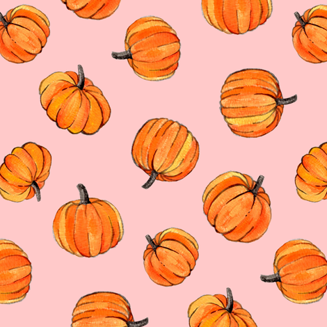 Little Pumpkins Painted in Orange Gouache on Millennial Pink fabric by micklyn on Spoonflower - custom fabric