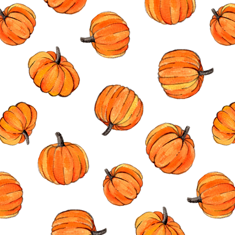 Little Pumpkins Painted in Orange Gouache on Clean White fabric by micklyn on Spoonflower - custom fabric