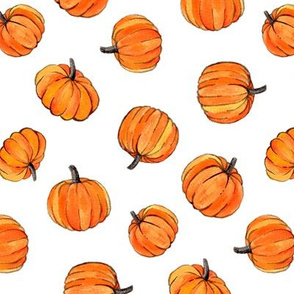 Little Pumpkins Painted in Orange Gouache on Clean White