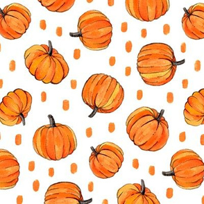 Little Pumpkins and Dots Painted in Orange Gouache on Clean White