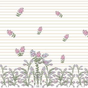 garden cream stripe  - crepe myrtle blues pink sprinkle