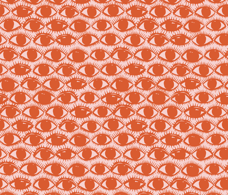 Inky Eyes // Orange fabric by beshkakueser on Spoonflower - custom fabric