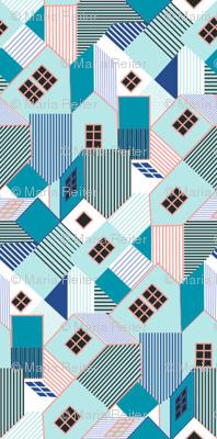 Little Blue Cubist Houses