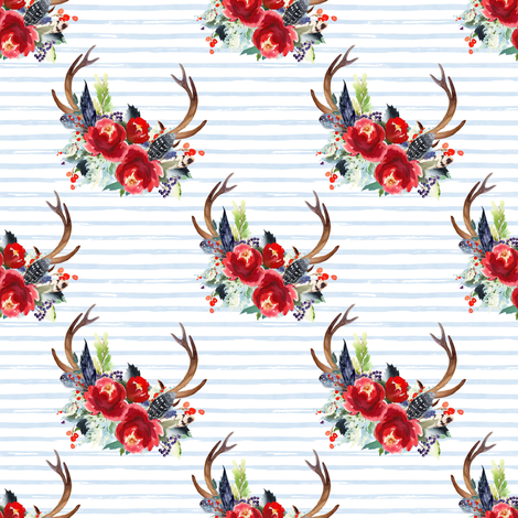 """4"""" Boho Red Bouquet - Blue Watercolor Stripes fabric by shopcabin on Spoonflower - custom fabric"""