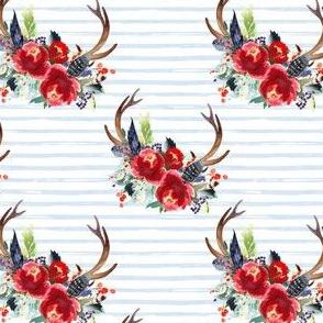 "4"" Boho Red Bouquet - Blue Watercolor Stripes"