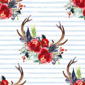 "8"" Boho Red Bouquet - Blue Watercolor Stripes"