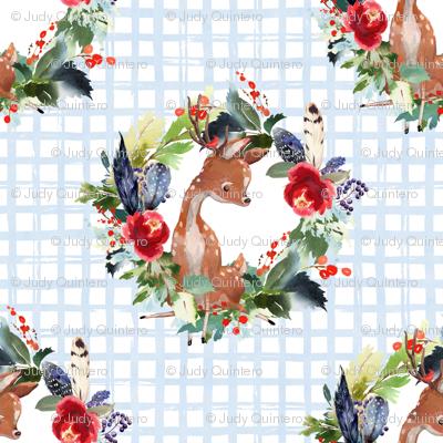 """4"""" Boho Winter Deer - Blue Squares"""