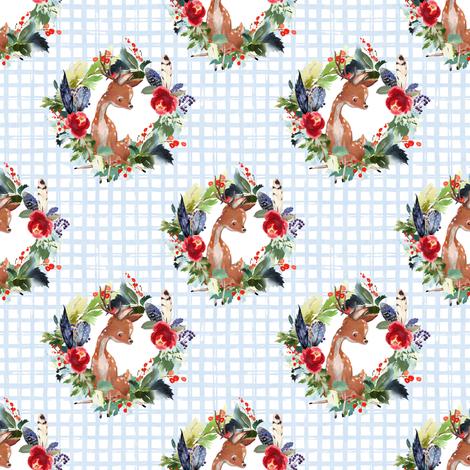 "4"" Boho Winter Deer - Blue Squares fabric by shopcabin on Spoonflower - custom fabric"