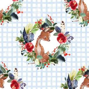 """8"""" Boho Winter Deer - Blue Squares"""
