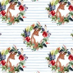 "4"" Boho Winter Deer - Blue Stripes"