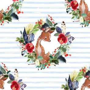 "8"" Boho Winter Deer - Blue Stripes"