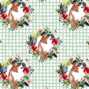 "4"" Boho Winter Deer - Green Squares"