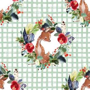 "8"" Boho Winter Deer - Green Squares"