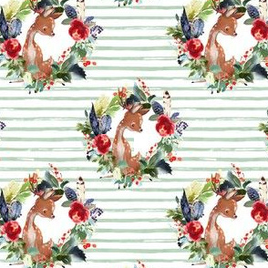 "4"" Boho Winter Deer - Green Stripes"