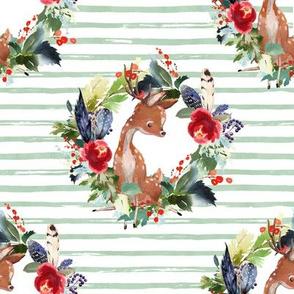 "8"" Boho Winter Deer - Green Stripes"