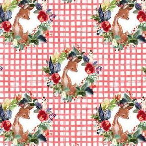 "4"" Boho Winter Deer - Red Squares"