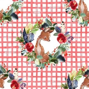 "8"" Boho Winter Deer - Red Squares"