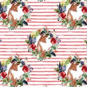 "4"" Boho Winter Deer - Red Stripes"