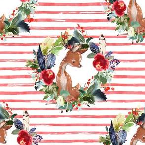 "8"" Boho Winter Deer - Red Stripes"