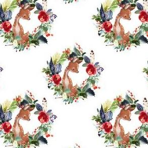 """4"""" Boho Winter Deer - White"""
