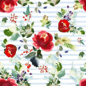 "8"" Boho Winter Garden - Blue Stripes"