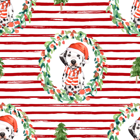 "8"" Best Friend Holiday Wreath - Red Stripes fabric by shopcabin on Spoonflower - custom fabric"
