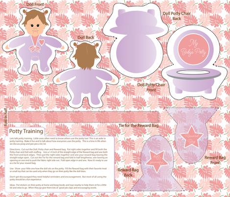 Lets talk potty training, reward bag, doll, potty chair, sew and cut fabric by applebutterpattycake on Spoonflower - custom fabric