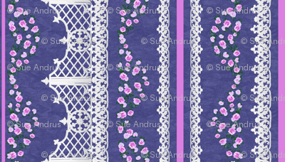 Roses and White Lace on Mottled Blue