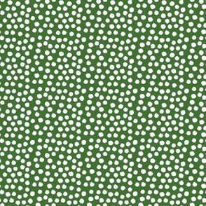 "8"" White Polka Dots - Apple Green Background"