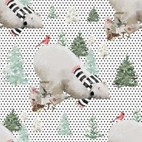 """8"""" Napping Bear - Black Polka Dots"""