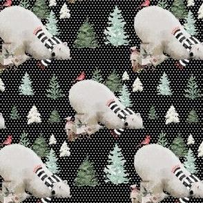 "4"" Napping Bear - White Polka Dots Black Background"