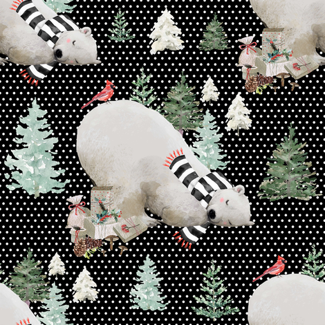 """8"""" Napping Bear - White Polka Dots Black Background fabric by shopcabin on Spoonflower - custom fabric"""