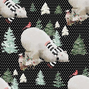 "8"" Napping Bear - White Polka Dots Black Background"