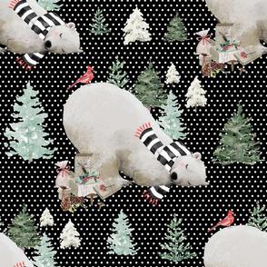 "18"" Napping Bear - White Polka Dots Black Background"