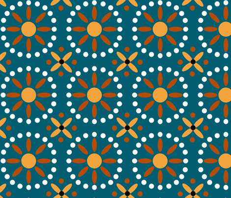 Sunnytribal2 lagoon fabric by lorloves_design on Spoonflower - custom fabric