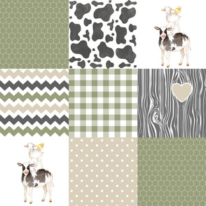 Farm//Love you till the cows come home//Ecru&Sage Green - Wholecloth Cheater Quilt