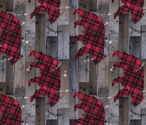 plaid bear on wood rotated fabric by karismithdesigns on Spoonflower - custom fabric