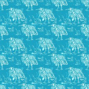 Linocut blue heron aqua