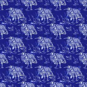 Linocut blue heron indigo