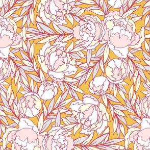 Pastel Peonies Pink & Gold
