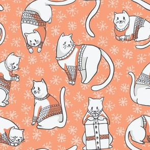 Christmas Cats in Embroidery Sweaters Seamless Vector Pattern
