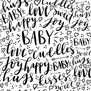 Baby Love Hand Lettered - Repeating Pattern - Black and White