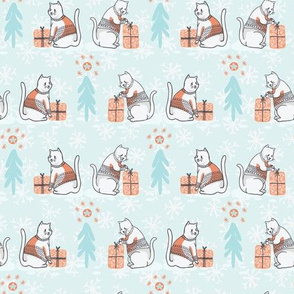 Christmas Cat in Embroidery Sweater Seamless Vector Pattern