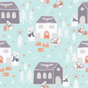 Christmas Cats Village Festive Seamless Vector Pattern, Drawn Present Boxes