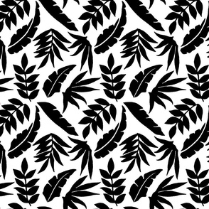 White and Black Cutout Floral Leaves