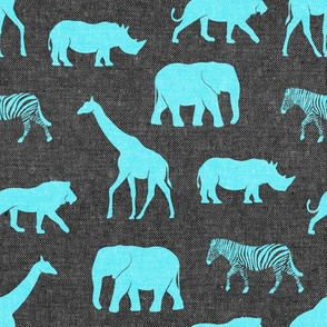 safari animals - blue on grey
