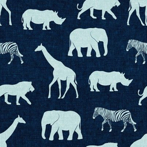 safari animals - blue on navy