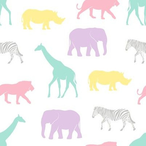 safari animals - pastels