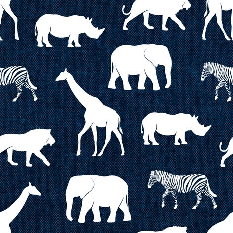 safari animals - navy fabric by littlearrowdesign on Spoonflower - custom fabric