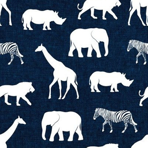 safari animals - navy